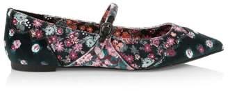 Coach X Tabitha Simmons Harriette Floral-Print Velvet Mary Jane Flats