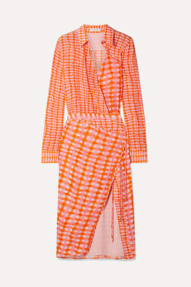 Altuzarra Constantina Wrap-effect Checked Silk Crepe De Chine Midi Dress - Orange