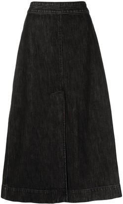 Ganni A-line midi skirt