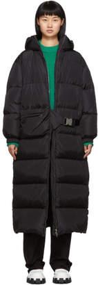 Prada Black Belt Bag Down Long Coat