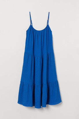 H&M H&M+ Crinkled Cotton Dress - Blue