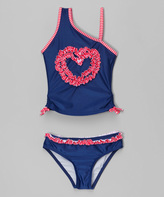 Jantzen Blue Heart Ruffle Asymmetrical Tankini - Toddler