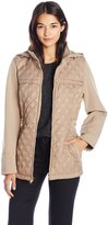 Jones New York Women's Diamond Quilted Soft Shell with Detachable Hood