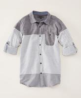 DKNY Dark Shadow Tri-Stripe Long-Sleeve Button-Up - Boys