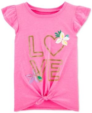 Carter's Little & Big Girls Love-Print Tie-Front Cotton T-Shirt