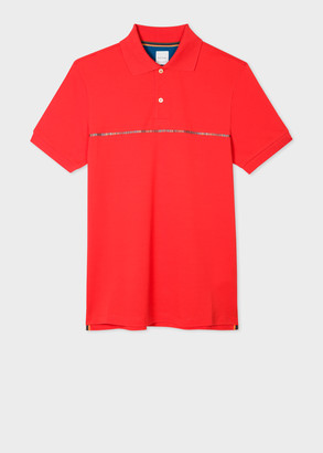 Paul Smith Men's Red Cotton-Pique Polo Shirt with 'Signature Stripe' Trim