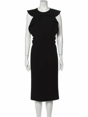 Bottega Veneta Ruffled Virgin Wool Dress Black