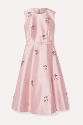Erdem Farrah Belted Crystal-embellished Mikado Dress - Pink