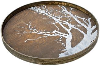 Ethnicraft Round Tree Driftwood Tray - Large - White