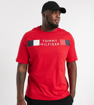 Tommy Hilfiger Big & Tall icon stripe logo chest t-shirt in primary red