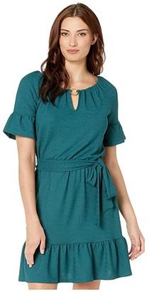 MICHAEL Michael Kors Cut Out Ruffle Hem Dress (Atlantic) Women's Clothing