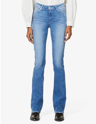Paige Ladies Blue Cotton Star Manhattan High Rise Bootcut Jeans, Size: 23