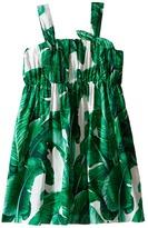 Dolce & Gabbana Botanical Garden Banana Print Flared Dress (Toddler/Little Kids)