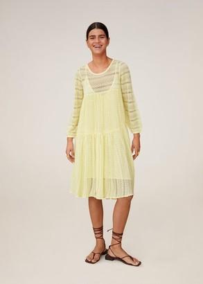 MANGO Knit openwork sweater pastel yellow - 2 - Women