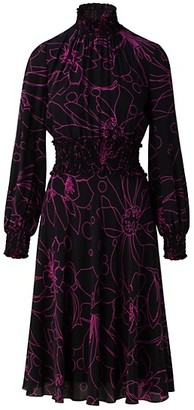 Akris Punto Sashiko Flower Silk Turtleneck Dress