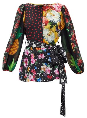 Dolce & Gabbana - Belted Patchwork Silk-blend Crepe Blouse - Multi