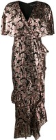 Saloni metallic fil coupe gown