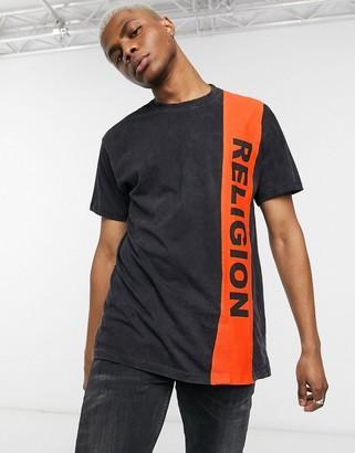Religion side stripe logo t-shirt in black
