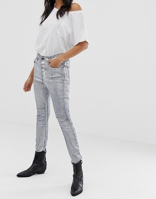 One Teaspoon Kidds metallic skinny jeans-Grey