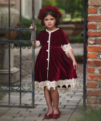 Trish Scully Child Girls' Special Occasion Dresses BURGUNDY - Burgundy Rosalina Dress - Toddler & Girls