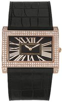 Freelook Women's HA8133-RG Rectangular Black Dial Black Leather Band Watch