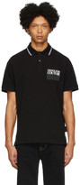 Versace Black Institutional Logo Patch Polo