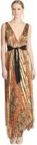 Oscar de la Renta Printed Pleated Lamé Gown