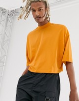 Asos Design DESIGN oversized crop t-shirt with mid sleeve and high neck in orange