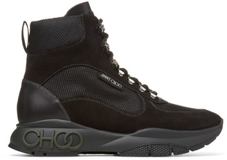 Jimmy Choo INCA/M Black Mix Technical Mesh and Leather Mix Hi Top Trainer Style Boots
