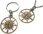 JewelryEveryday Sun Compass Neckace and Keychain Set- You're The Light Of My Life