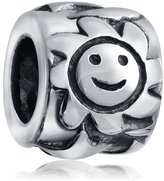 Bling Jewelry 925 Sterling Silver Sun Star Bead Pandora Bead Charm Compatible