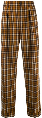 Saint Laurent Checked Straight-Leg Trousers