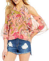 GB Floral-Print 3/4-Sleeve Cold Shoulder Halter Tie Neck Top