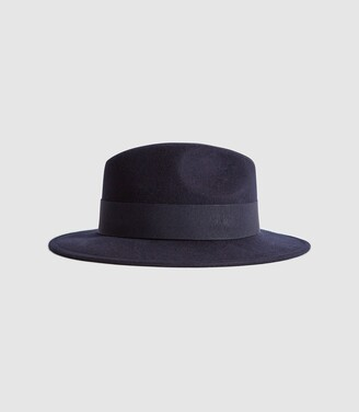 Reiss Edie - Felt Fedora in Navy