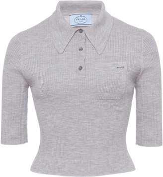 Prada Ribbed Cropped Polo Top