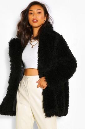 boohoo Textured Teddy Faux Fur Coat
