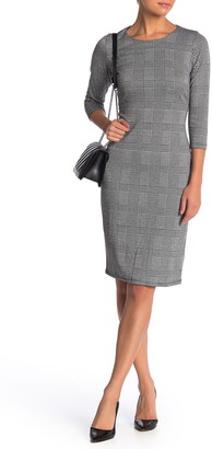 T Tahari Houndstooth Plaid 3/4 Sleeve Ponte Sheath Dress