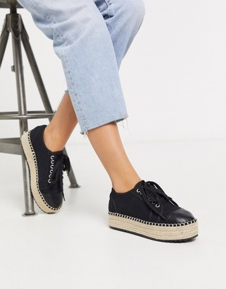 ASOS DESIGN January lace up espadrille trainers in black
