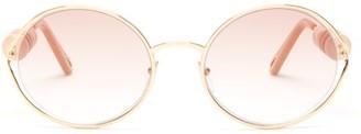 Chloé Dillie Round-frame Beaded Metal Sunglasses - Womens - Light Gold