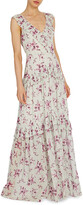 Thumbnail for your product : ML Monique Lhuillier Floral Print V-Neck Tiered Ruffle Gown