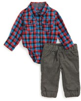 Andy & Evan Infant Boy's Shirtzie Check Bodysuit & Pants Set