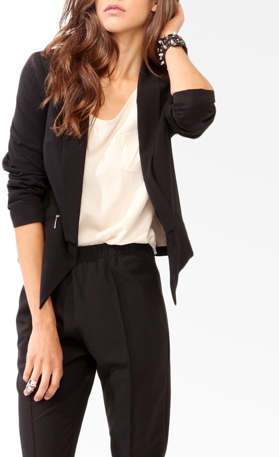 Forever 21 Contemporary Shawl Collar Cutaway Blazer