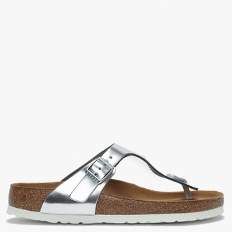 Birkenstock Gizeh Silver Leather Toe Post Sandals