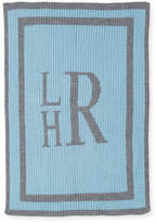 Butterscotch Blankees Monogrammed Knit Striped-Trim Baby Blanket, Light Blue