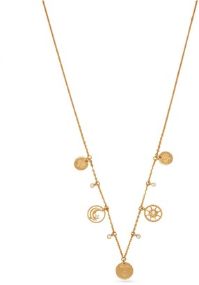 Mulberry Love, Sun and Moon Necklace Gold and Crystal Brass and Strass