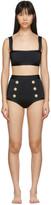 Balmain Black Button Bikini