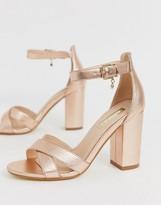 Office holborn cross vamp block heel sandals in gold