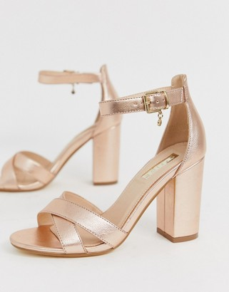 Office holborn cross vamp block heel sandals in gold