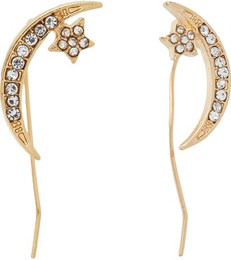 Betsey Johnson Pave Moon Stud Earrings (Crystal) Earring