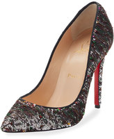 Christian Louboutin Pigalle Sequin Red Sole Pump, Black
